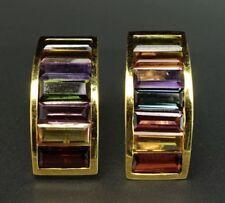 Colorato Curvo 18K Oro Giallo Multi-Gemstone Citrino Tormalina Granato Orecchini