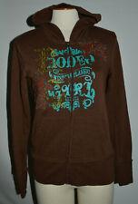 Womens Small ARIAT Cowgirl Brown Full Zip-Up Hoodie/Hooded Sweatshirt Embroidery