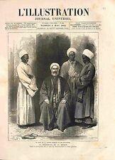 Musulmans Pèlerinage de la Mecque Imam Grande Mosquée Islam Arabie GRAVURE 1882