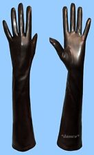 WOMENS size 9 or 3XL EXTRA LONG SILK LINED GENUINE BLACK LAMBSKIN LEATHER GLOVES