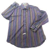 Robert Graham Mens L Long Sleeve Button Front Shirt Purple Stripe Flip Cuffs