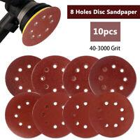 10PCS 25mm Dry Sanding Discs 5 inch Sandpaper Hook & Loop 8 Hole 40 - 3000 GRIT