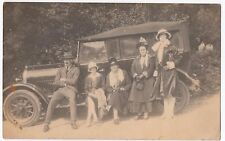 Social History, Family Group on Running Board of Saloon Car RP PPC, c 1920s