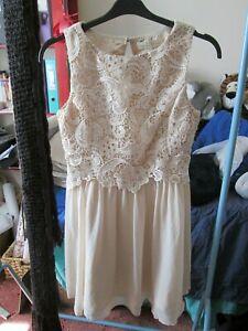 Little Mistress cream Skater Dress Chiffon/lace Size 14 Knee Length