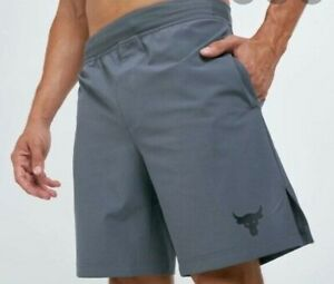 Under Armour PROJECT ROCK Mens Training Shorts 1346070 Size Small Gray
