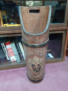 """Rare Florentia Italy Vintage Wood Umbrella Stand Holder Coat of Arms 23"""" Tall"""