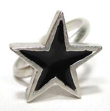 SoHo® Ring Sternchen schwarzer Stern klein silber Kunstharz schwarz SoHo retro