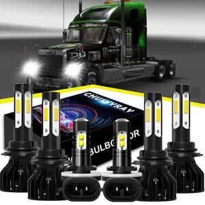 For Freightliner Coronado 13-18 9005 9006 881 LED Headlight Bulbs*6x Fog Light