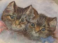 D.B. - 20th Century Watercolour, Portrait of Two Cats