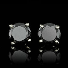 3Ct Round Cut Black Diamond Solitaire Stud Earrings Solid 14k White Gold Finish