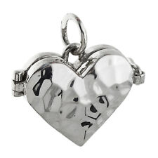 Tiny Hammered Heart Locket - 925 Sterling Silver - 2 Photo Trinkets Love NEW