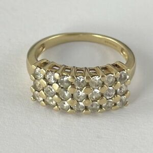 9ct Gold Cz Cluster Ring Size M 1/2 3.9g