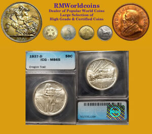 1937  50 Cents Oregon  Trail,  Superb Gem BU,  ICG 65, Rare, Low Mintage