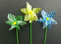 Pinwheel Windmill Spinner Whirlygig Toy Flower Pot Ornament Plant Stick Lot of 6