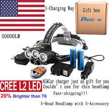 50000LM XM-L L2 LED 5Head USB Headlamp Headlight 3-Charger 18650 Battery Sets US