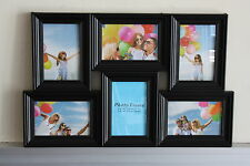 High Class Plastic 6 in 1 Multi Photo Frame - Plain - Black - On Sale