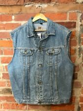 VINTAGE DENIM VEST SIZE L XL MID BLUE SLEEVELESS CUT OFF by LEE RIDERS (dw43)