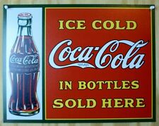 Ice Cold Coca Cola Sold In Bottles Tin Metal Sign Pop Soda Coke Red Green Ad