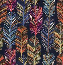 Michael Miller Blue, Pink, Orange & Yellow Feathers Indian Summer Fabric - FQ