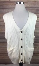St. Johns Bay Cardigan Sweater Mens XXL Faux Leather Buttons Front Pockets NEW