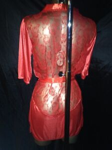 HOT RED ROBE SHEER SILKY SOFT NYLON WITH LACE INCERT SIZE med LARGE