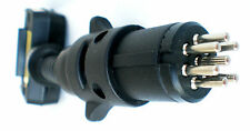 Trailer Adaptor 7 Pin Flat Plug to 7 Pin Small Round Plug & Blue Flashing LED