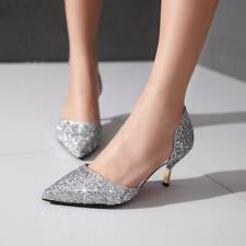 Womens Glitter Kitten Heel Sliver Gold  Bling Pointed Toe Wedding Shoes party
