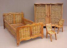 Chambre à coucher jouet poupée vintage BOIS & OSIER armoire lit chaises ancien