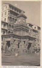 POSTCARD SIZED PHOTOGRAPH  VIEW OF CLOCK TOWER BOMBAY INDIA 1900