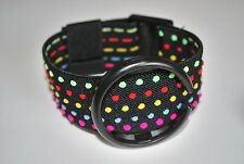 Aftermarket Replacement Strap-Band For Swatch POP Watch Black With Color Dots