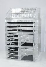 Unique Clear Acrylic Jewelry and Cosmetic Home Storage Makeup Organizer Set NEW