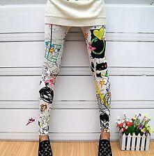 Fashion Women's Sunflower Print Thin Casual High Waist Stretchy Pants Leggings