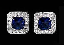925 ECHT SILBER RHODINIERT *** Ohrstecker 8x8 mm, Zirkonia saphir blau