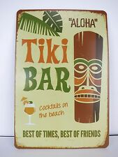 Tiki Bar Tin Sign Cocktails Beach Hawaii 50s Rockabilly Kustom Kulture Metal