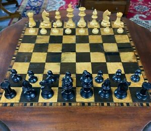 Vintage Chess Set Carved Wooden Pieces