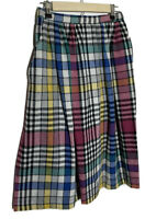 Vintage Eccobay Pleated Wool Blend Midi Skirt Multi Color Plaid Checks Pockets