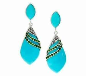 QVC Sterling Silver Turquoise & 0.70 CT Chrome Diopside Dangle Earrings