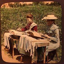 Magic Lantern Slide Vintage Ladies Lace Making Crafts Needlecraft Social History