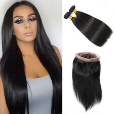 Brazilian 360 Lace Frontal Closure Straight with 2 Bundles 100% Human Hair Weave