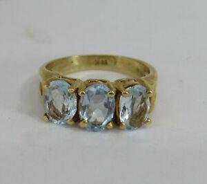 14K SOLID GOLD Top Quality Designer Natural London Blue Topaz Ring Sz 5.25