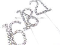 6cm Silver Diamante Diamond Rainbow Unicorn Cake Pick Topper 10-90 Numbers