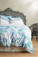 New Anthropologie Vignette Duvet Cover Queen Blue Cotton Percale Embroidered NIP