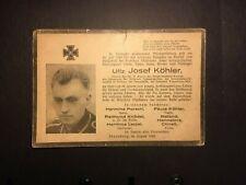 GERMAN. WW2 WEHRMACHT UNTER OFFIZIERE DEATH NOTICE -:-  NICE GENUINE CONDITION.