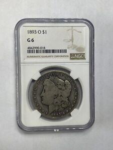 1893-O $1 Morgan Silver Dollar - NGC G6 - KEY DATE! Under graded