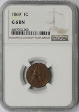 1869 1C NGC G 6 BN Indian Head Penny