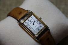 Ladies Jaeger-LeCoultre Reverso Acier OR 750 18k/SS Watch Ostrich Band + Box