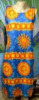 ISLAND EXPRESSIONS Blue Orange Yellow Sleeveless Beach Dress Cover Up Medium