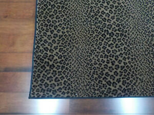 custom leopard area rug stainmaster nylon 5.7 x 5.7  beige/blackspots