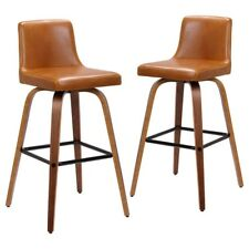 Set of 2 Matera Bar Chairs Barstools with Faux Leather Swivel Seat, Tan / Walnut
