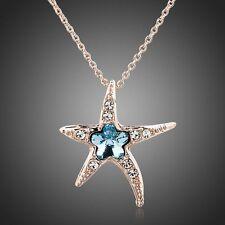Sparkle Shine Rose Gold Plated Blu Stella Marina Austria Cristallo Collana Ciondolo
